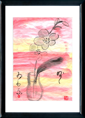 Sumi-e painting Phalaenopsis Orchid