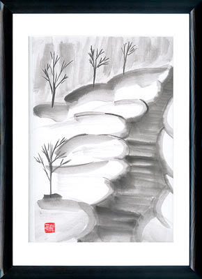 Sumi-e painting Snowy way