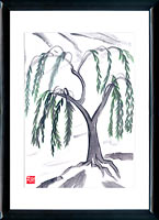Sumi-e Weeping willow